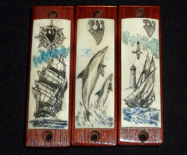Scrimshaw Mezzuzahs by an Unknown Artist