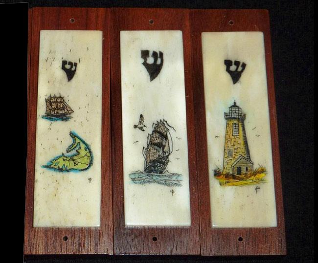Scrimshaw Mezzuzahs by Claire Petrillo