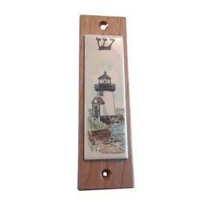 Ivory scrimshaw mezzuzah of a Brant Point Lighthouse..