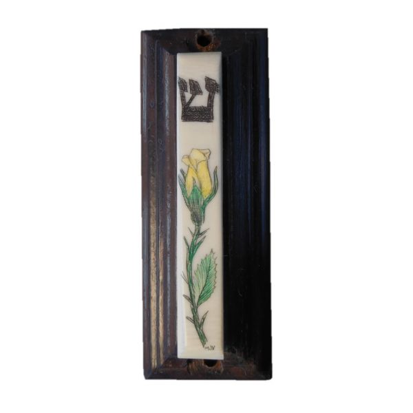 Ivory scrimshaw mezzuzah of a yellow rose.
