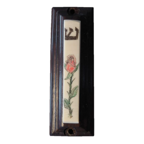 Ivory scrimshaw mezzuzah of a red rose.