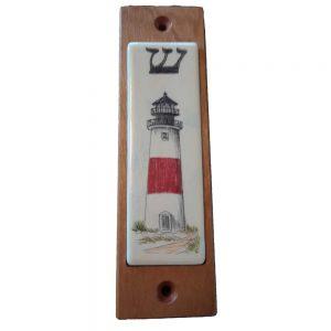 Ivory scrimshaw mezzuzah of Sankaty Lighthouse..